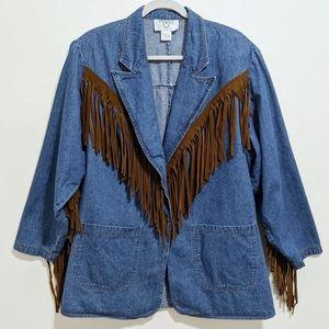 Vintage Cervelle Fringe Denim Jacket